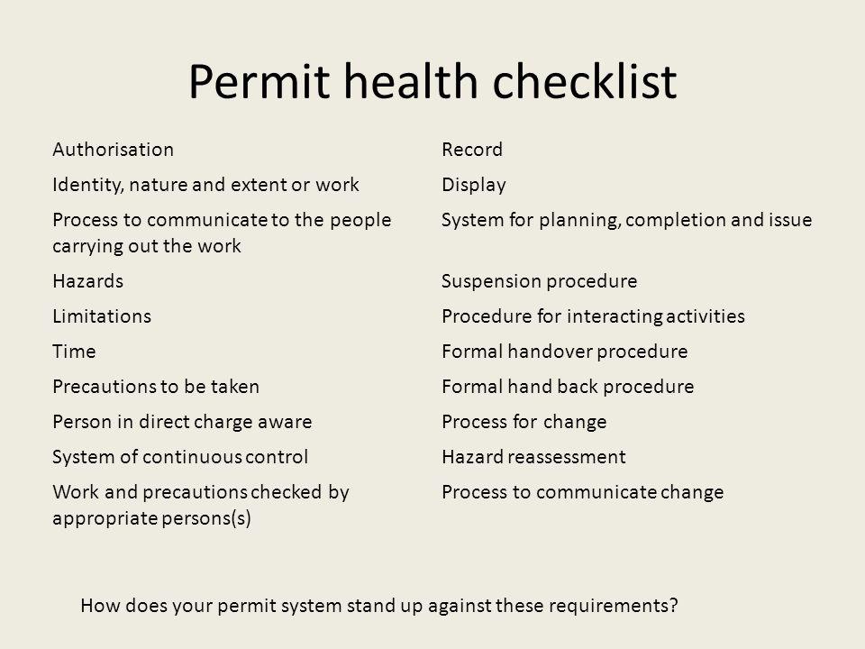 Permit health checklist