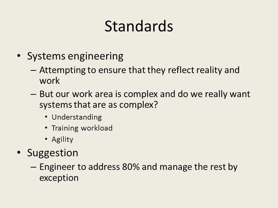 Standards Systems engineering Suggestion