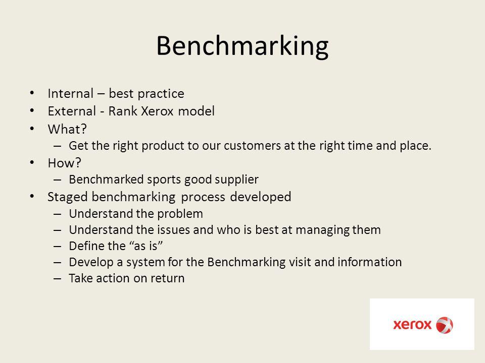 Benchmarking Internal – best practice External - Rank Xerox model