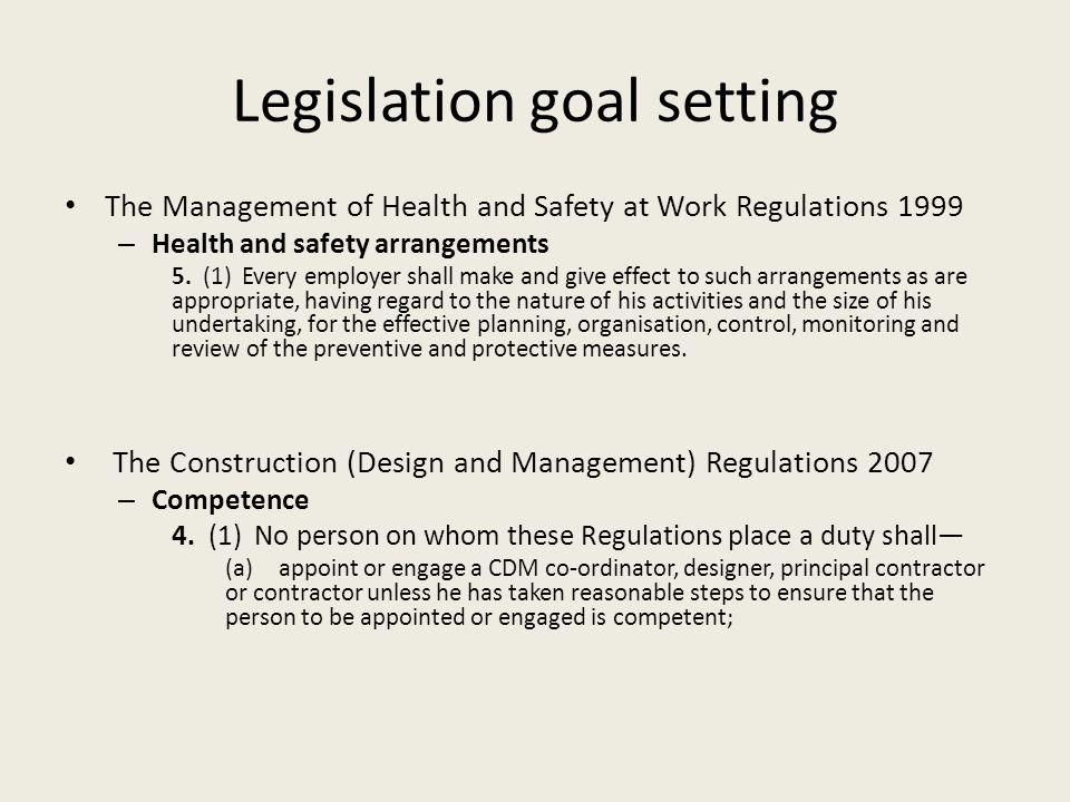 Legislation goal setting