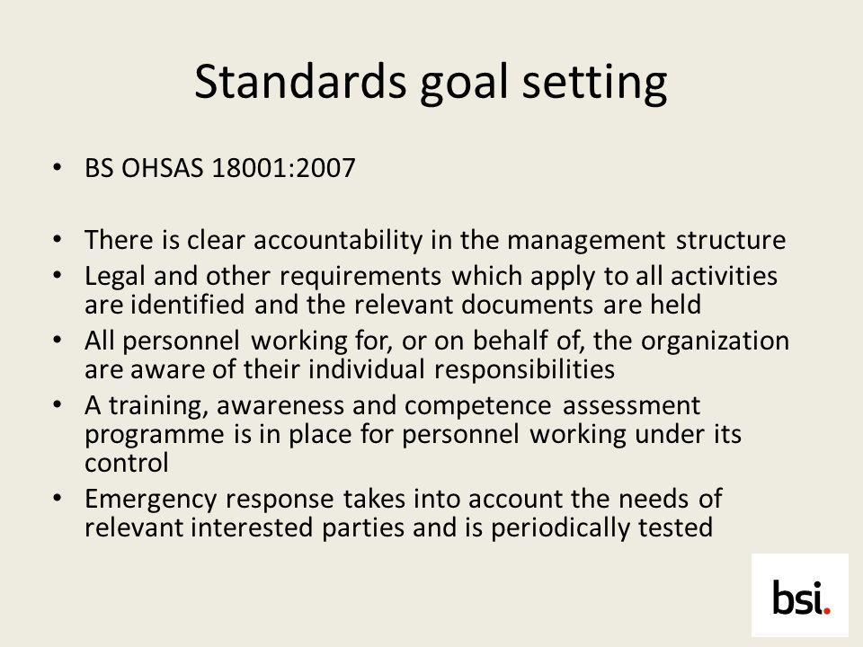 Standards goal setting