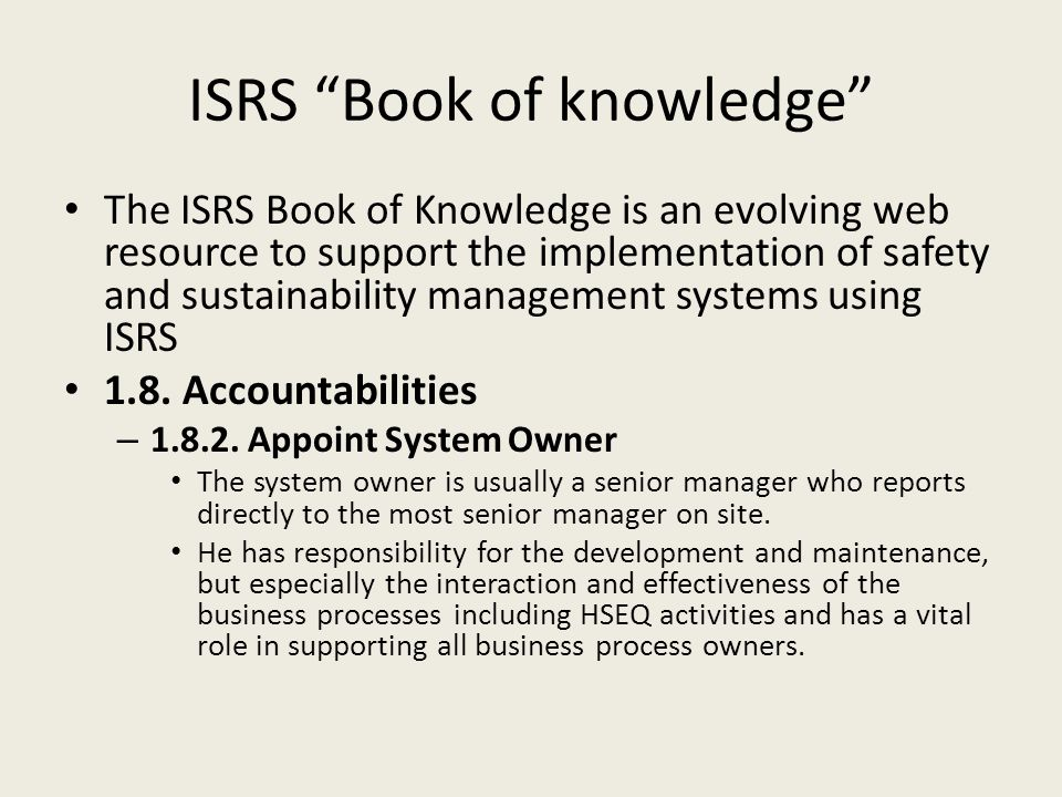 ISRS Book of knowledge
