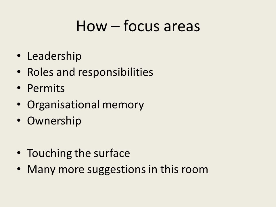 How – focus areas Leadership Roles and responsibilities Permits