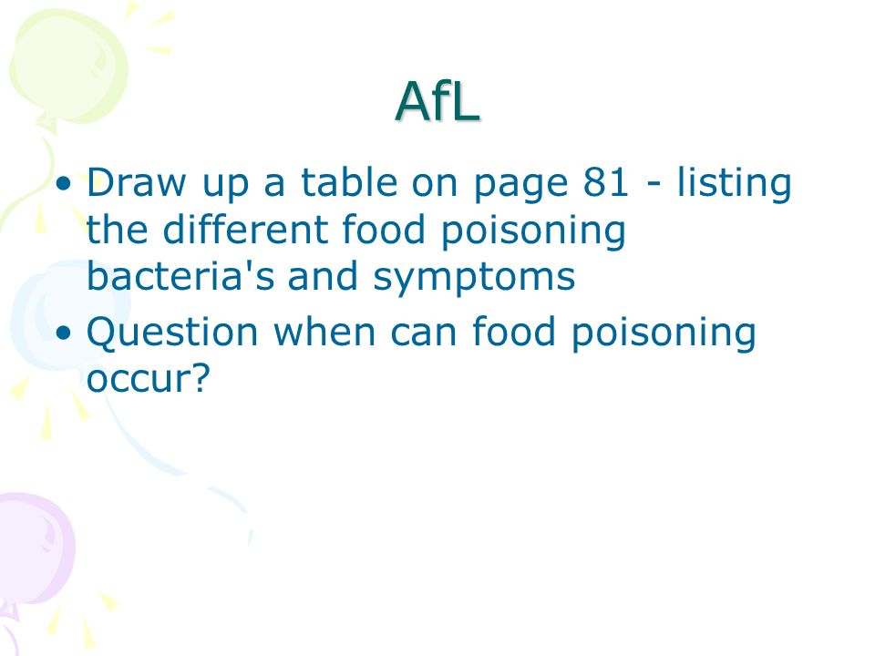 AfL Draw up a table on page 81 - listing the different food poisoning bacteria s and symptoms.
