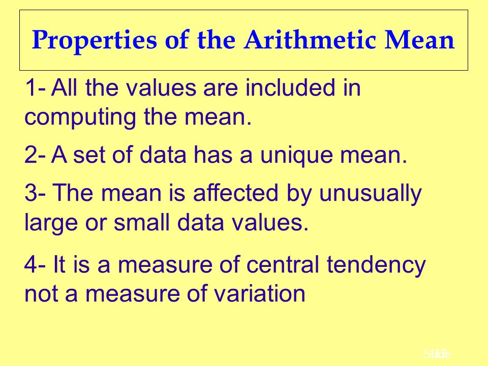 Properties of the Arithmetic Mean