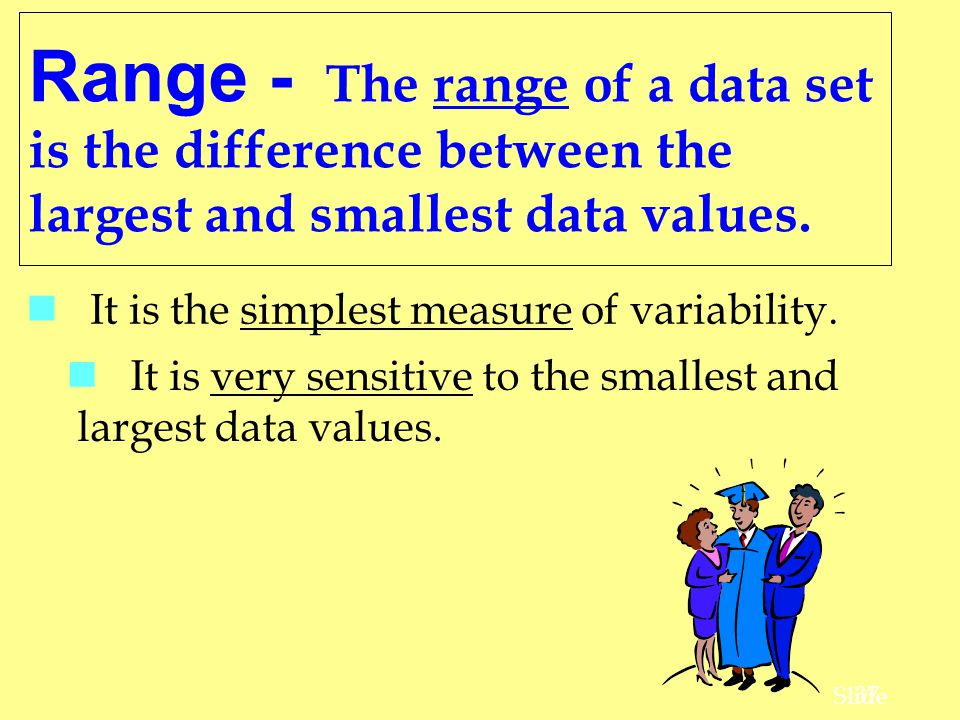 Range - The range of a data set is the difference between the largest and smallest data values.