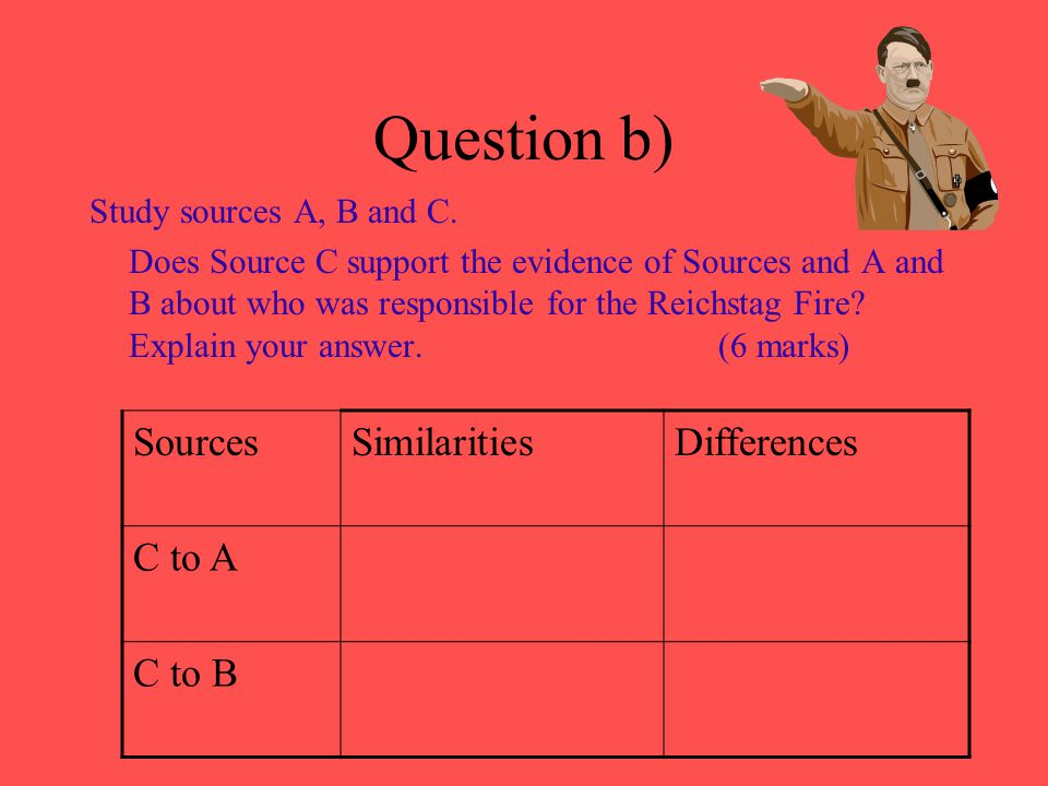 Question b) Sources Similarities Differences C to A C to B