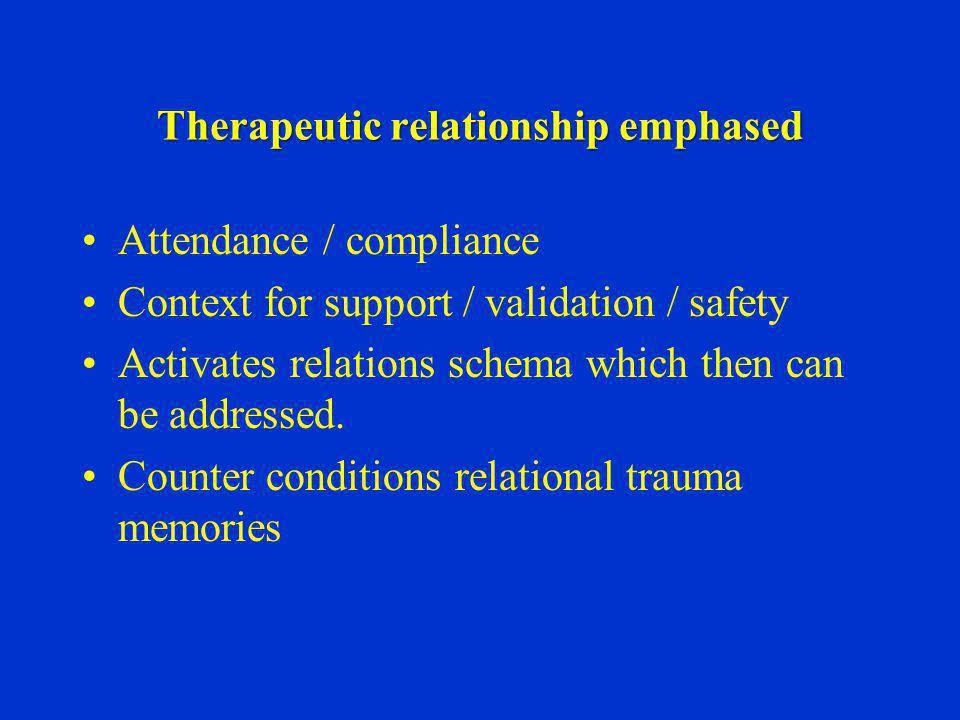 Therapeutic relationship emphased