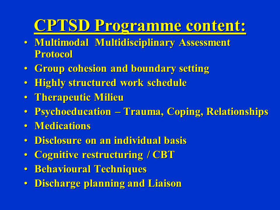 CPTSD Programme content: