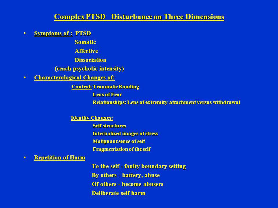 Complex PTSD Disturbance on Three Dimensions
