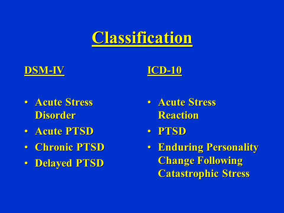 Classification DSM-IV Acute Stress Disorder Acute PTSD Chronic PTSD