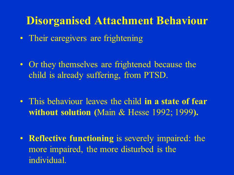 Disorganised Attachment Behaviour