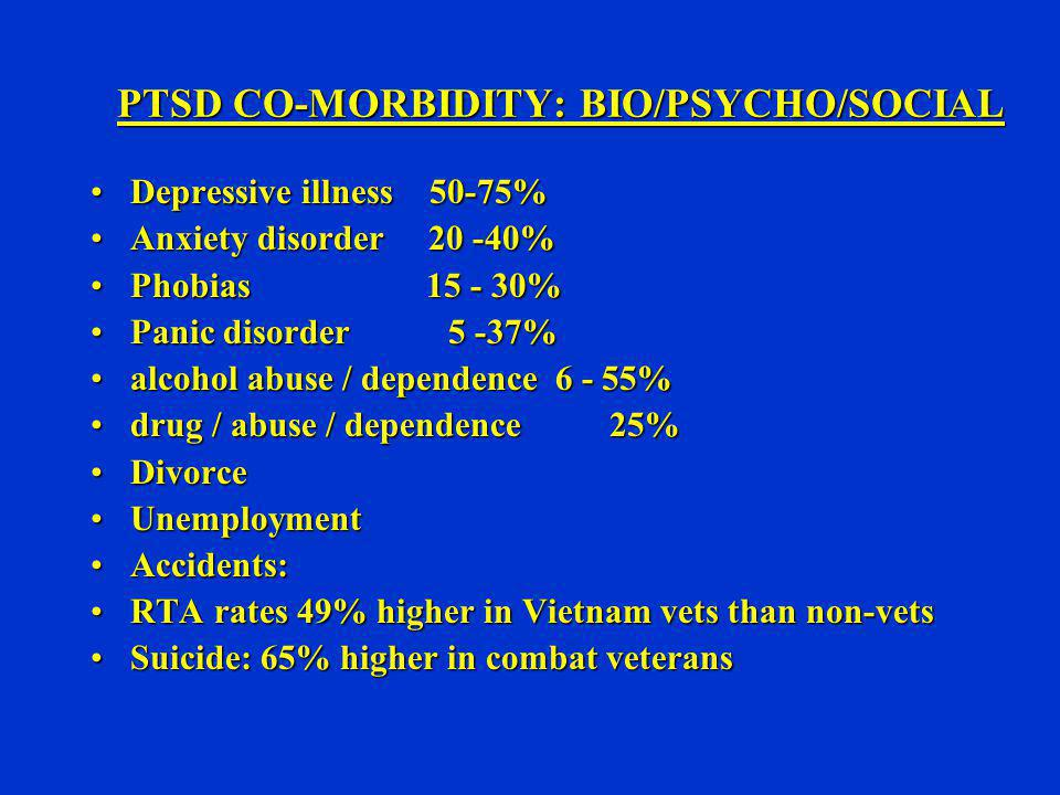 PTSD CO-MORBIDITY: BIO/PSYCHO/SOCIAL