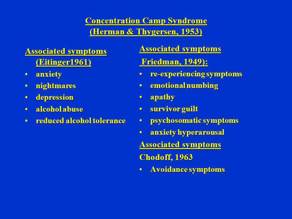Concentration Camp Syndrome (Herman & Thygersen, 1953)