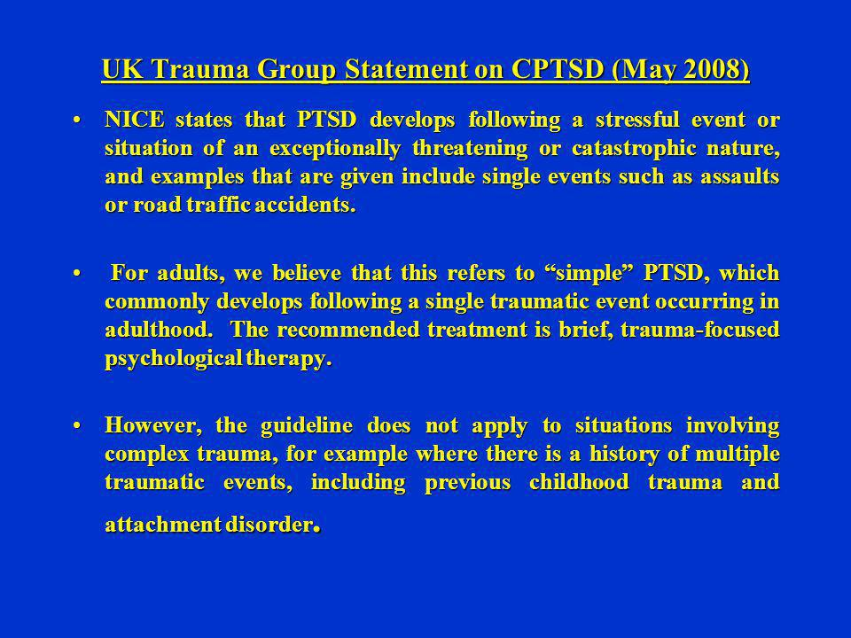 UK Trauma Group Statement on CPTSD (May 2008)