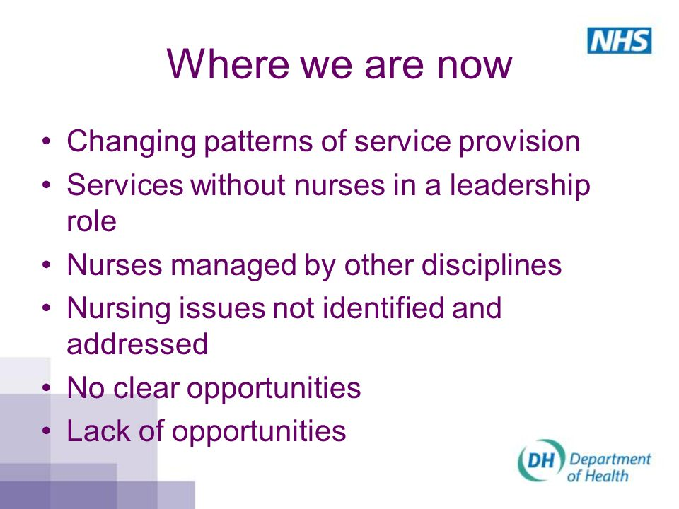 Where we are now Changing patterns of service provision