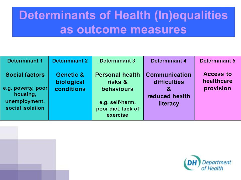 Determinants of Health (In)equalities as outcome measures