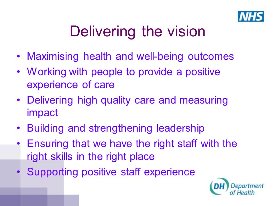 Delivering the vision Maximising health and well-being outcomes