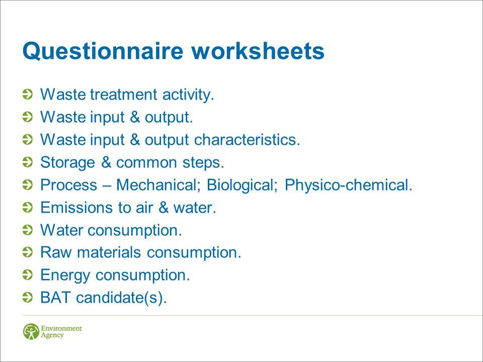 Questionnaire worksheets
