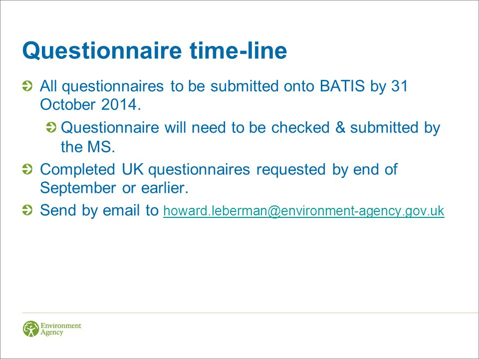 Questionnaire time-line