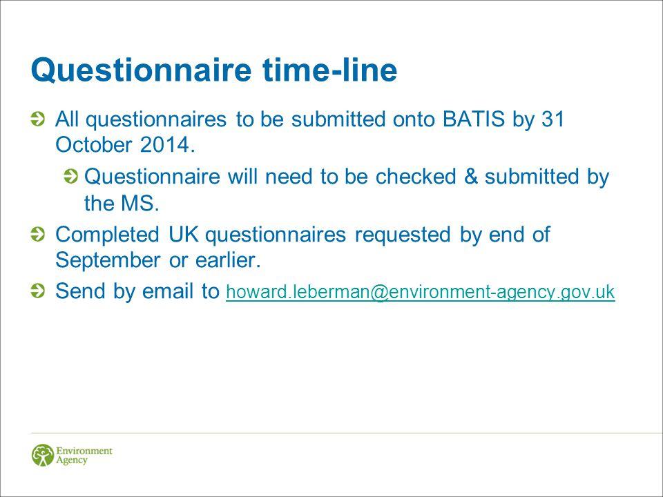 Questionnaire time-line
