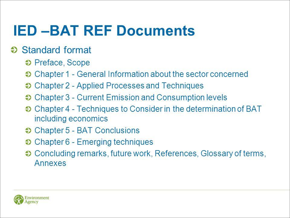 IED –BAT REF Documents Standard format Preface, Scope