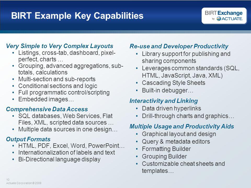 BIRT Example Key Capabilities