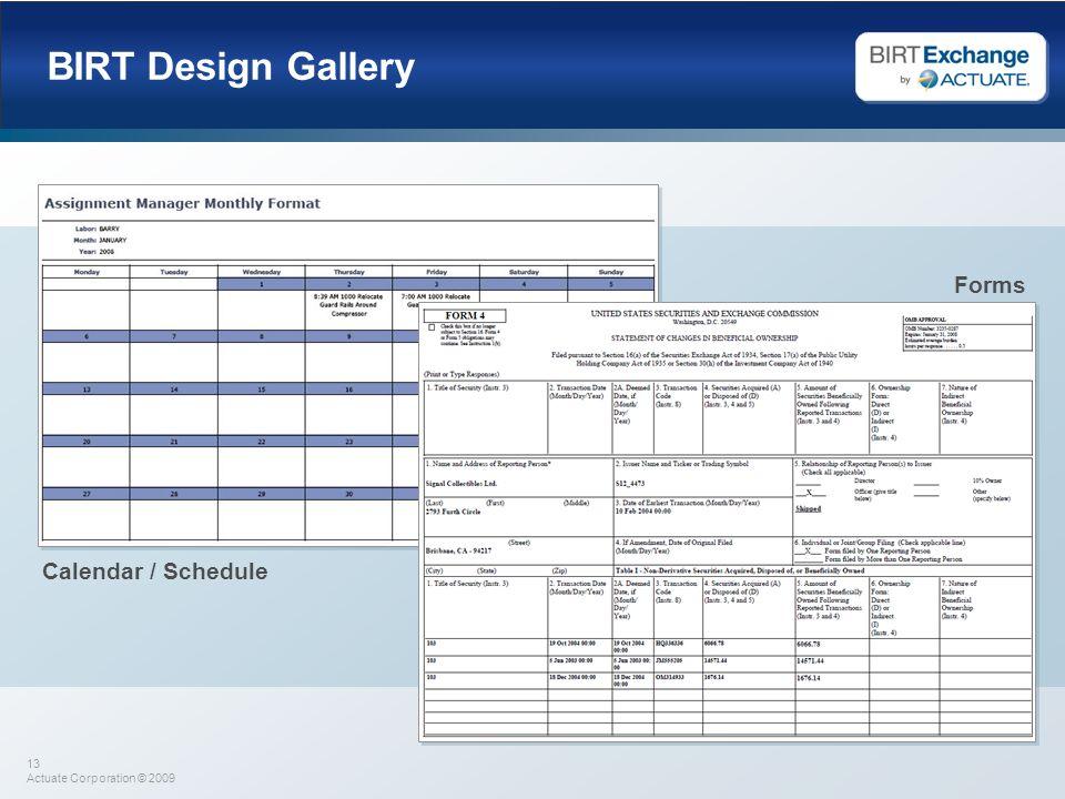 BIRT Design Gallery Forms Calendar / Schedule