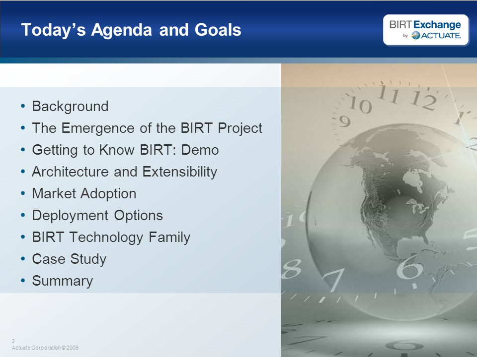 Today's Agenda and Goals