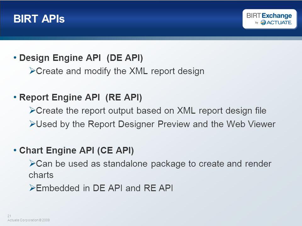 BIRT APIs Design Engine API (DE API)