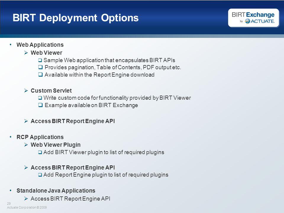 BIRT Deployment Options