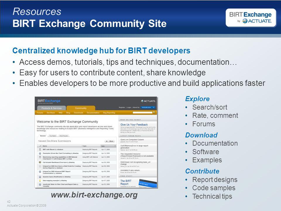 Resources BIRT Exchange Community Site