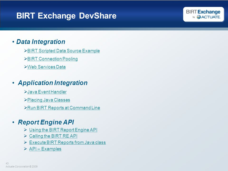 BIRT Exchange DevShare
