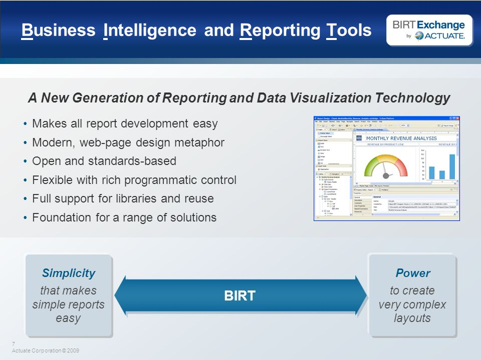 Business Intelligence and Reporting Tools