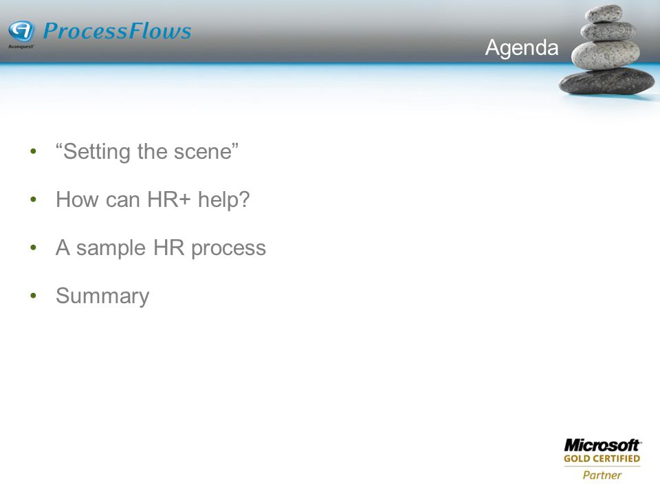 Agenda Setting the scene How can HR+ help A sample HR process Summary