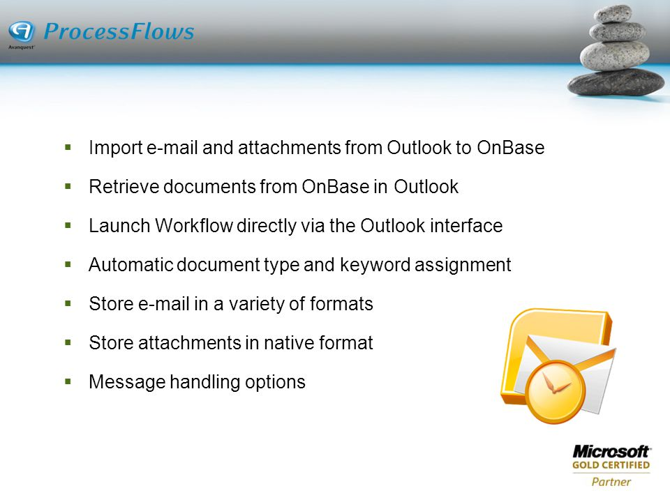 Import e-mail and attachments from Outlook to OnBase