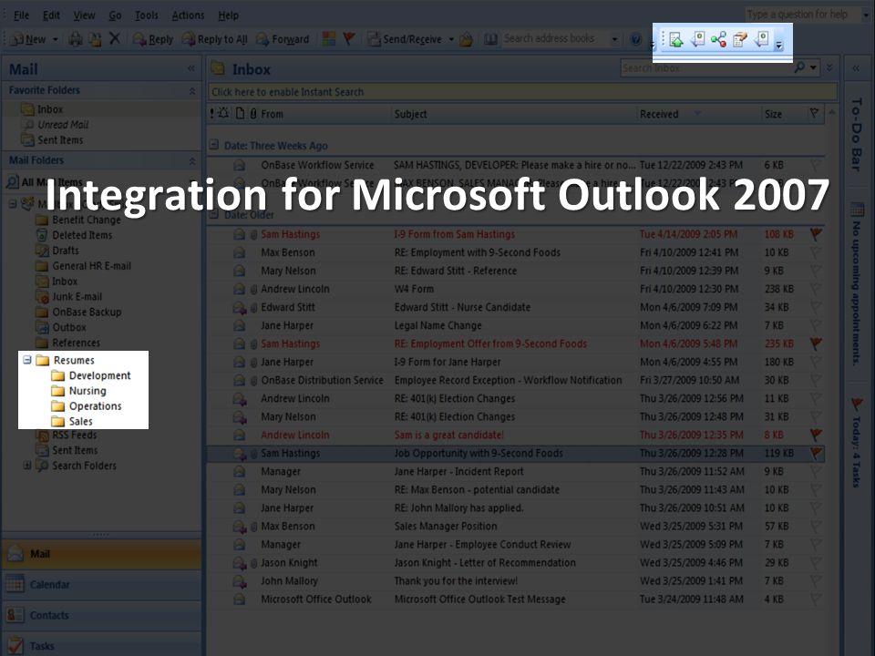 Integration for Microsoft Outlook 2007