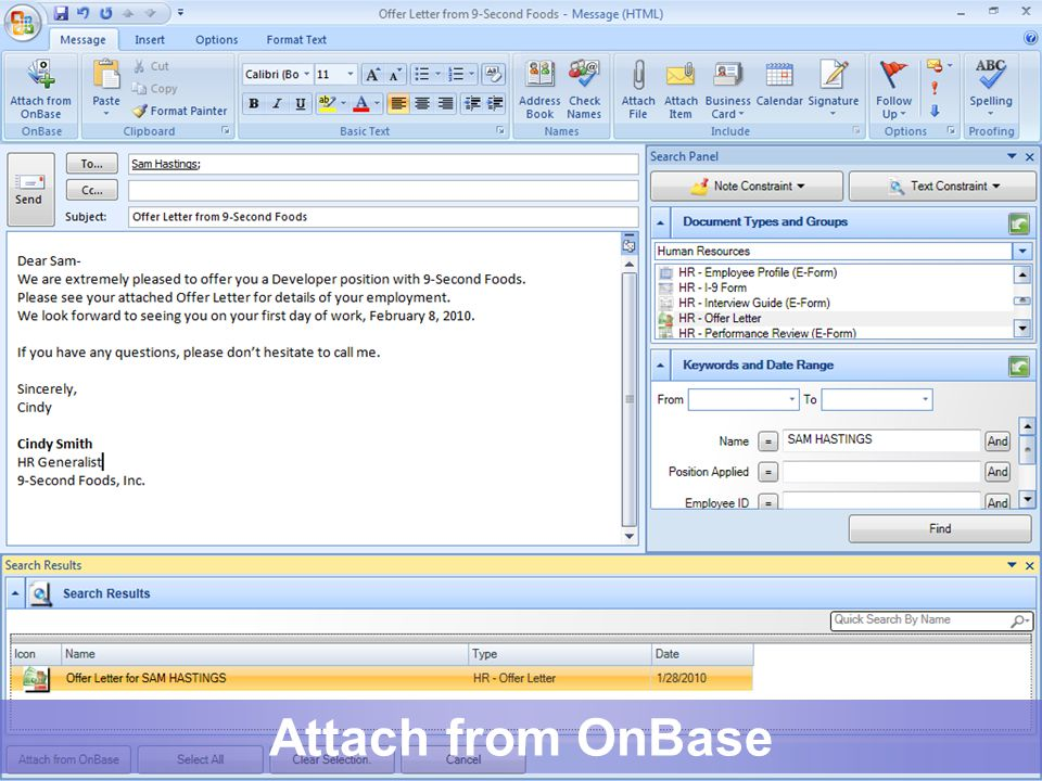 Attach from OnBase