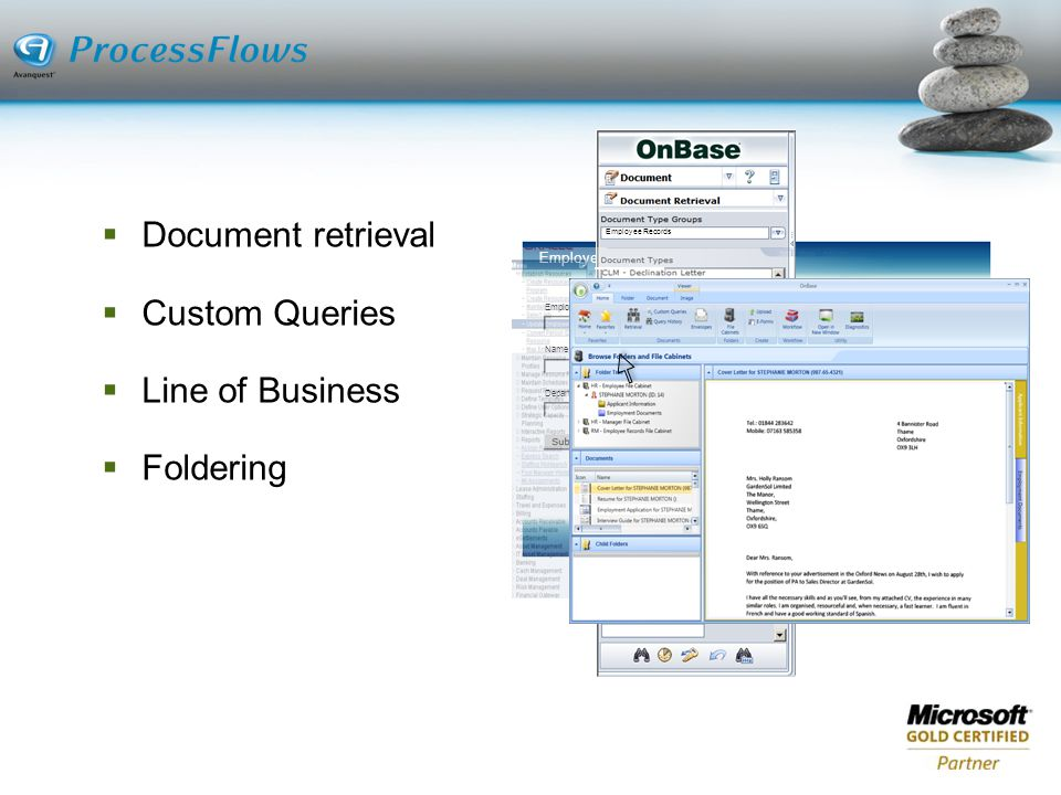 Document retrieval Custom Queries Line of Business Foldering