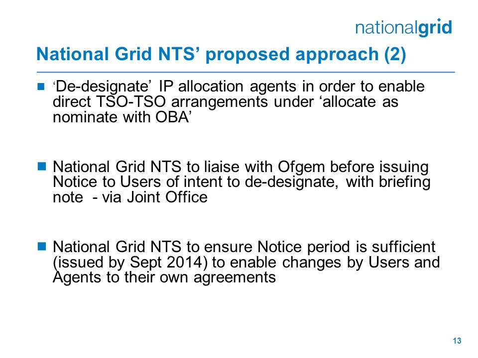 National Grid NTS' proposed approach (2)
