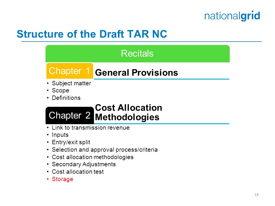 Structure of the Draft TAR NC