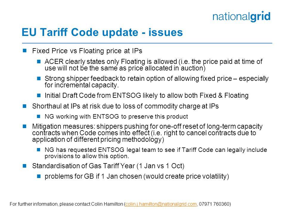 EU Tariff Code update - issues