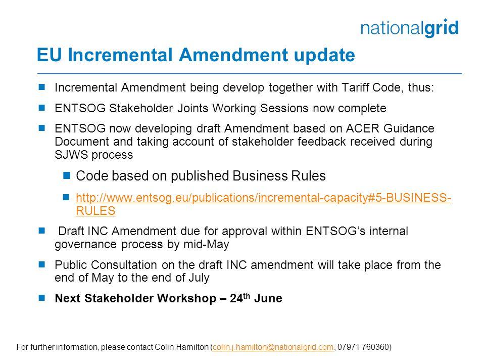 EU Incremental Amendment update