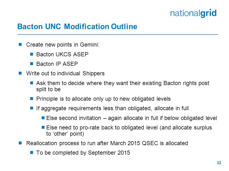 Bacton UNC Modification Outline