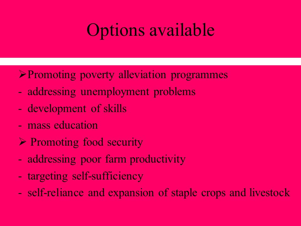 Options available Promoting poverty alleviation programmes