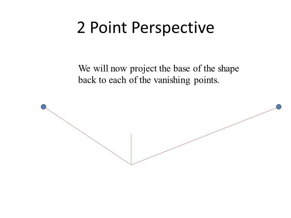 2 Point Perspective We will now project the base of the shape back to each of the vanishing points.