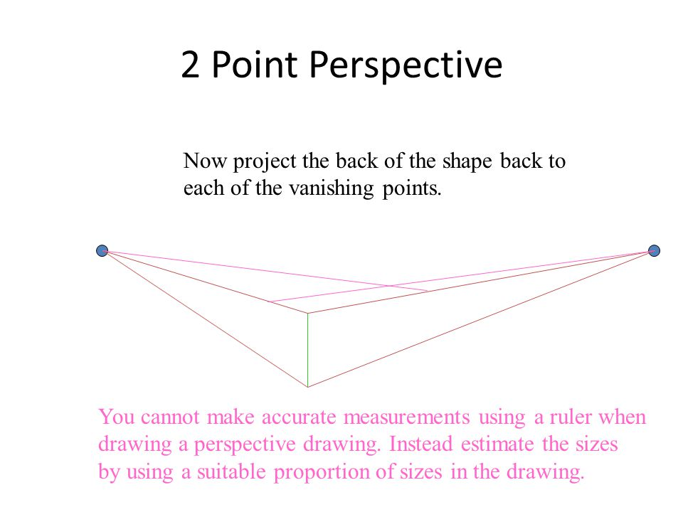 2 Point Perspective Now project the back of the shape back to each of the vanishing points.
