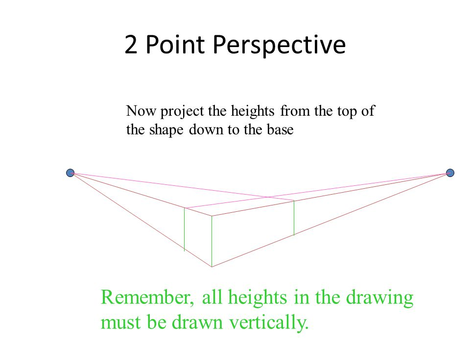 2 Point Perspective Now project the heights from the top of the shape down to the base.