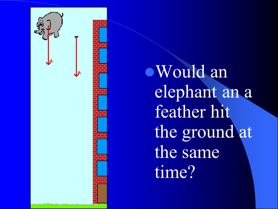 Would an elephant an a feather hit the ground at the same time