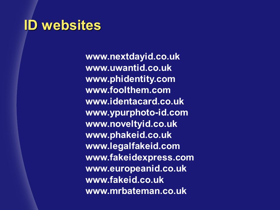 ID websites www.nextdayid.co.uk www.uwantid.co.uk www.phidentity.com